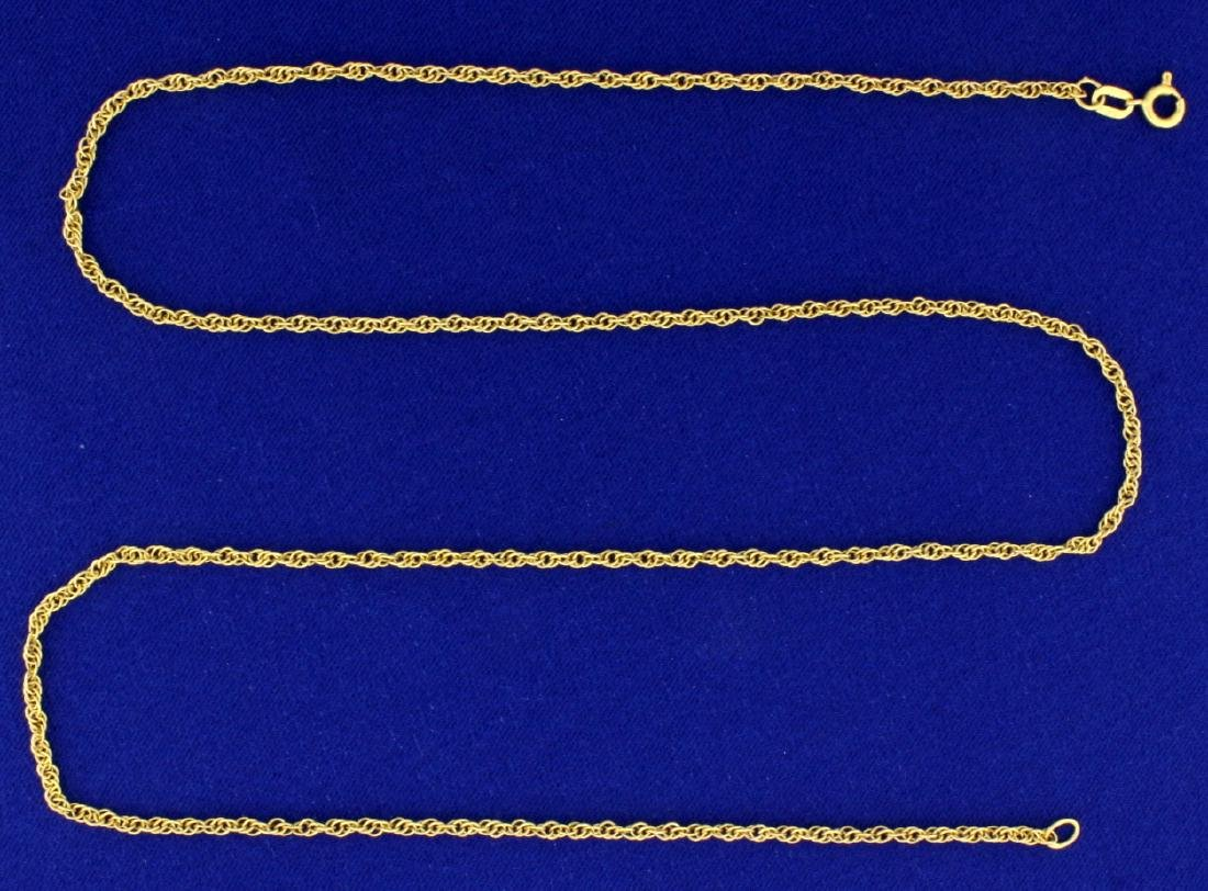25 Inch Rope Style Neck Chain in 18K Yellow Gold