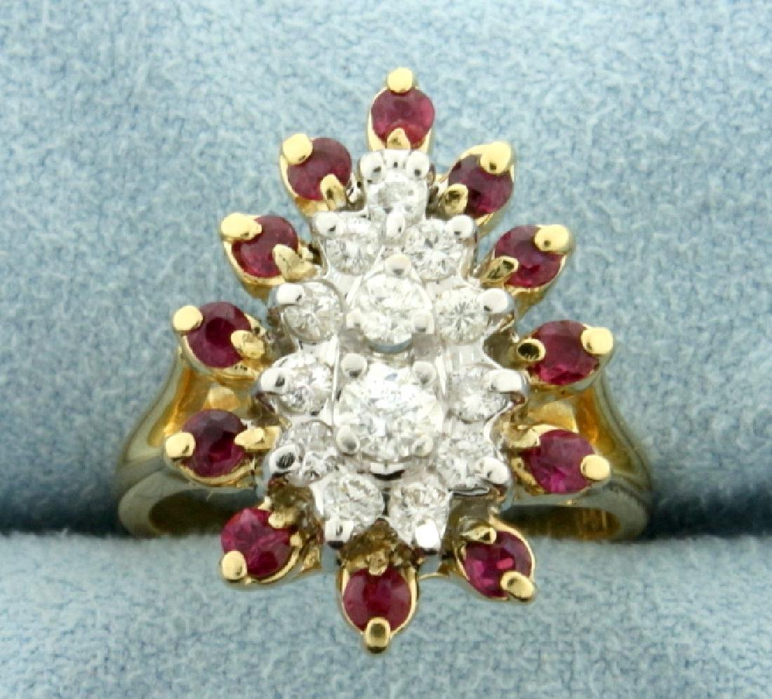 Natural Ruby and Diamond Cocktail Ring in 14K Yellow