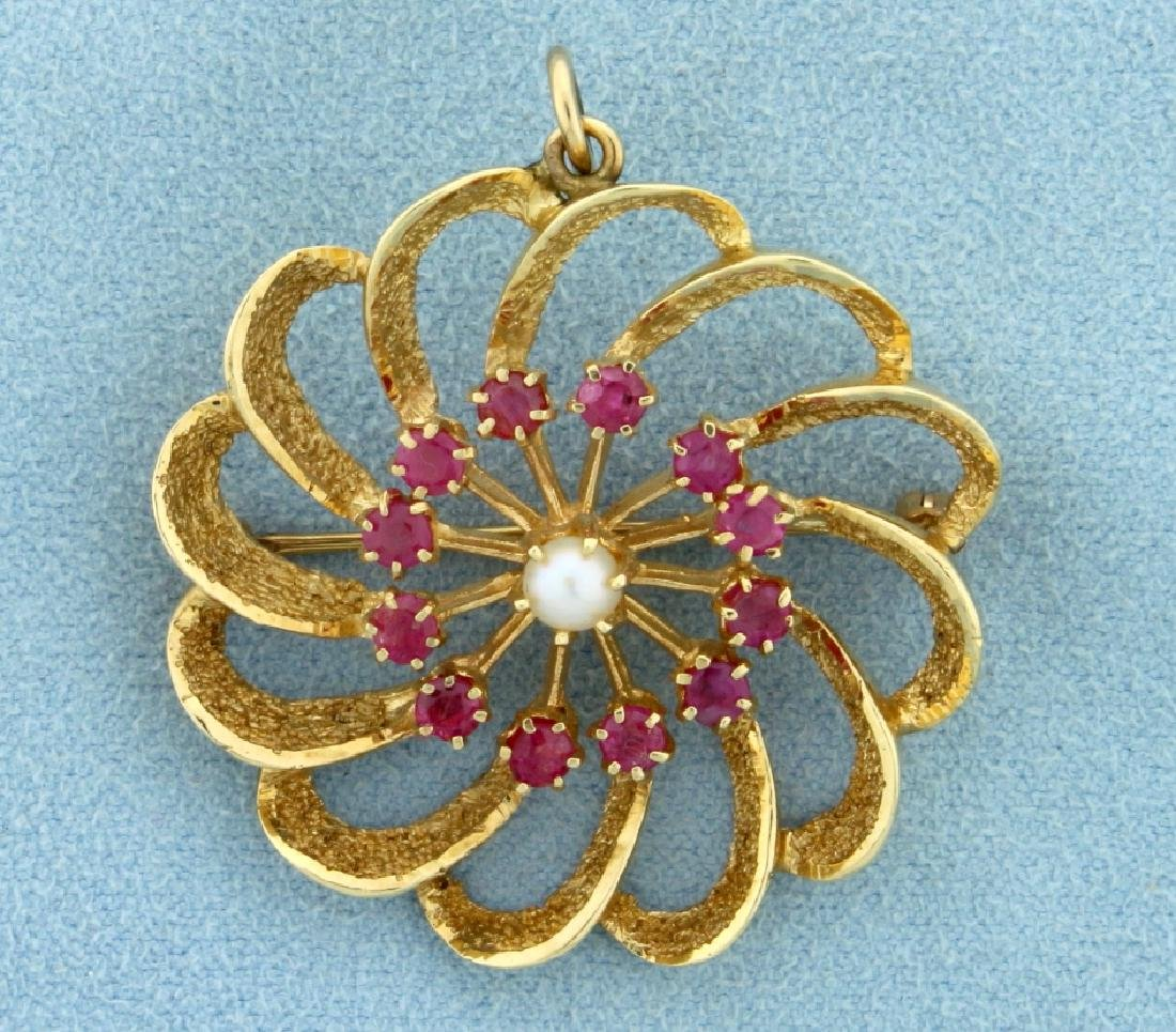Vintage Ruby and Pearl Pinwheel Pin/Pendant in 14K