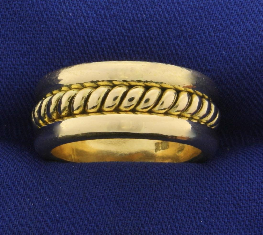 Heavy Rope Design Band Ring in 18K Yellow Gold