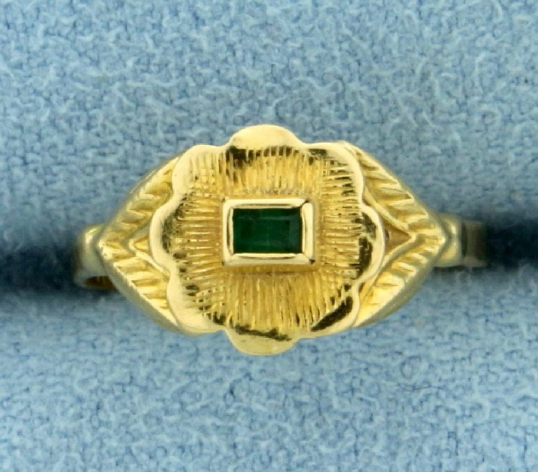 Emerald Child's Ring in 18K Yellow Gold