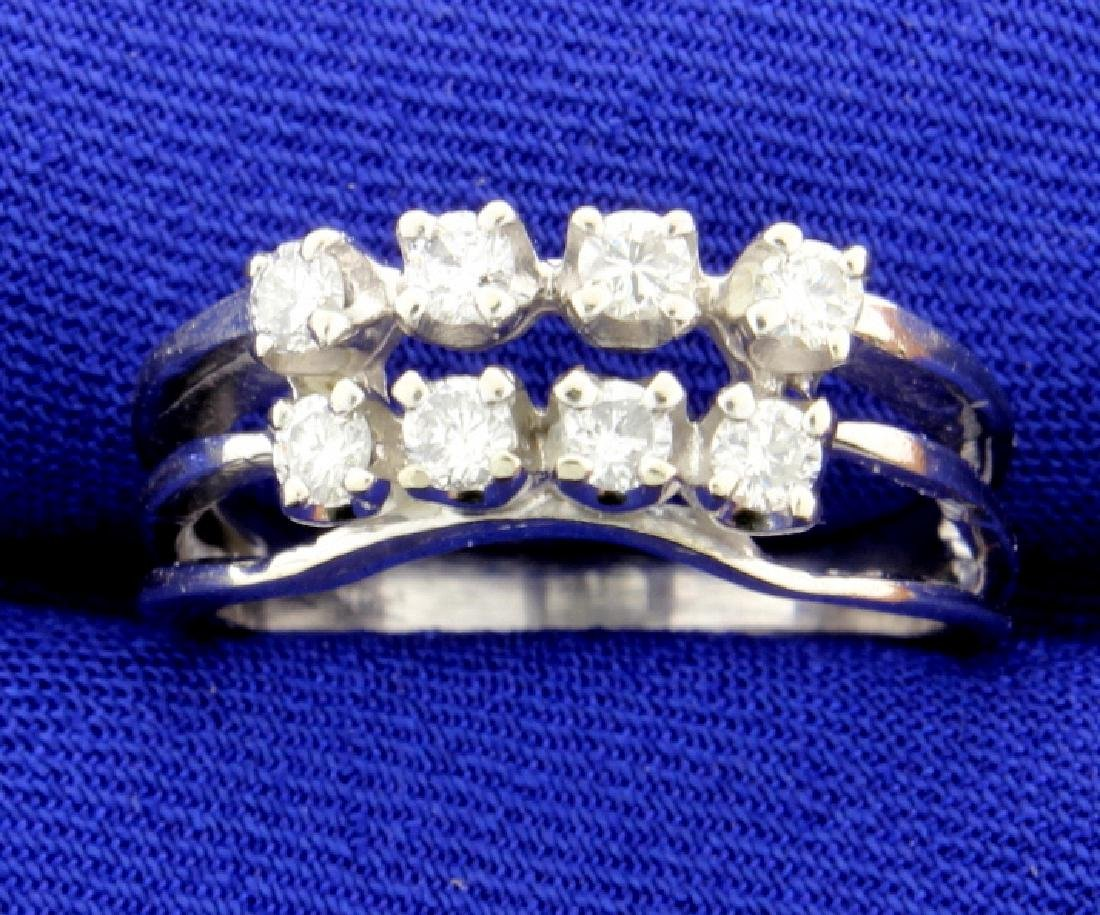 Diamond Contour or Shadow Band Ring in 14k White Gold