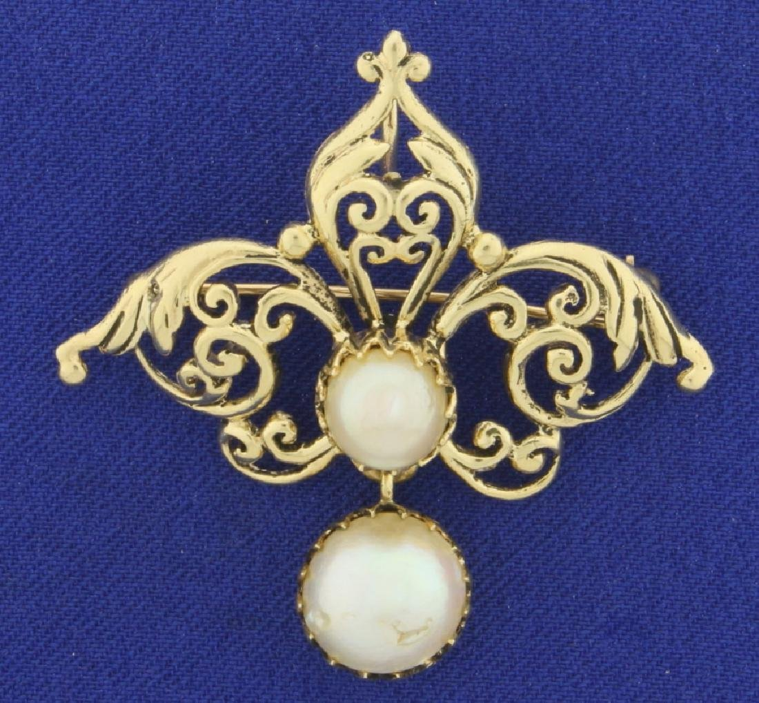 Antique Two Pearl Pendant or Pin in 14K Yellow Gold