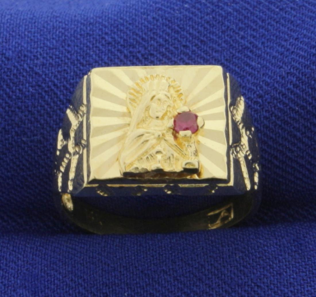 Religious Virgin Mary Ring in 14K Yellow Gold