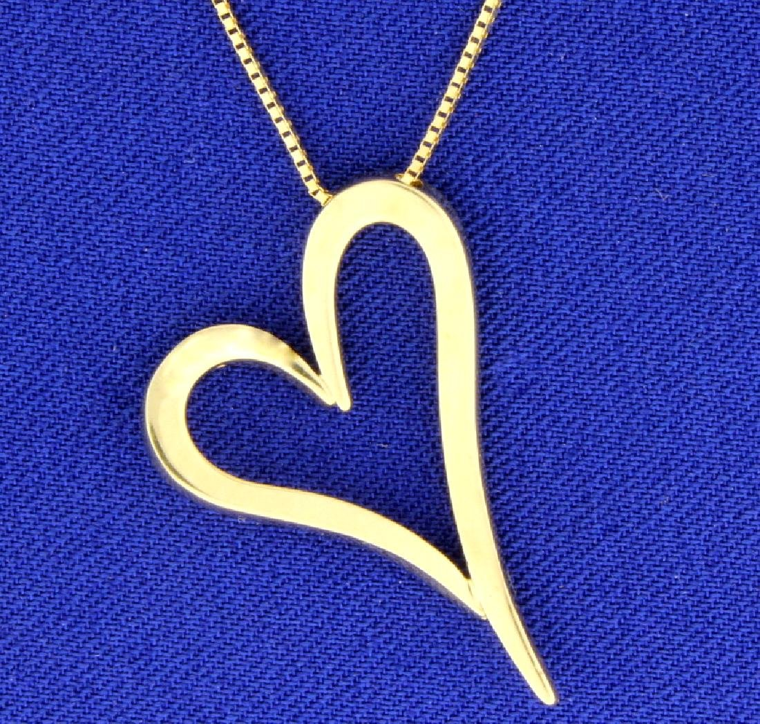 Italian Made Box Link Chain with Heart Pendant in 14k