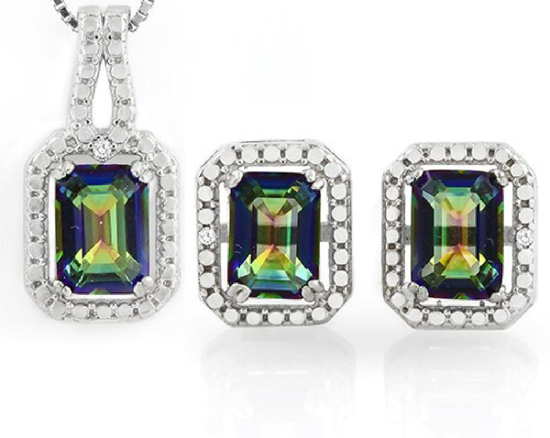 3CTW Ocean Mystic Topaz and Diamond Earring and Pendant