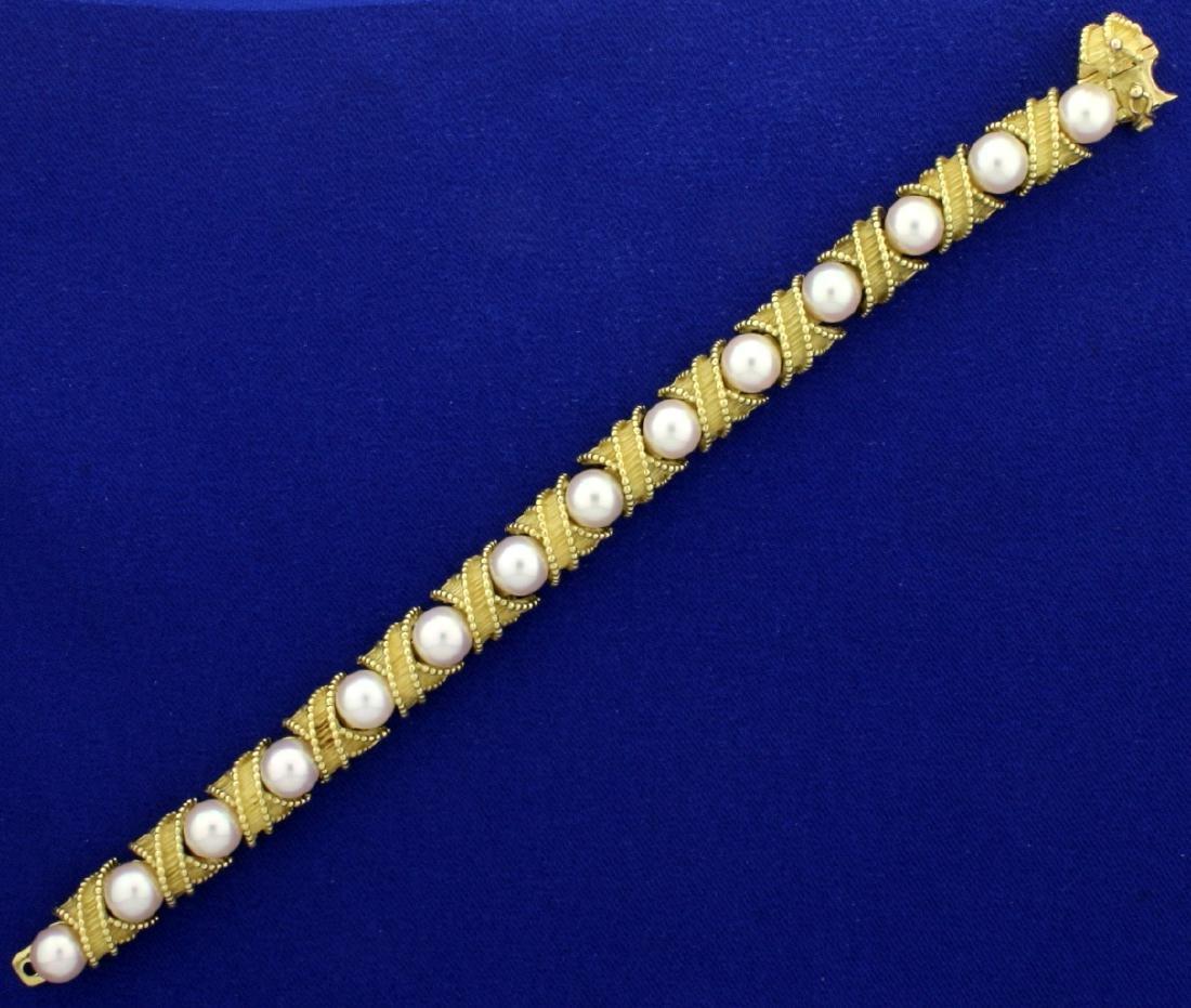 18k Gold and Akoya Pearl Designer Bracelet