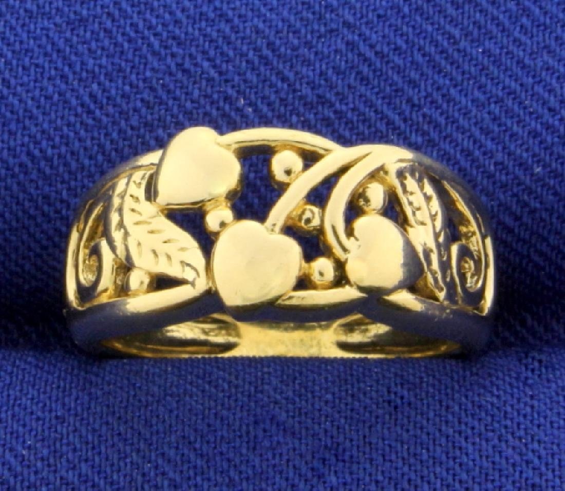 Heart Nature Design Band Ring in 18K Yellow Gold