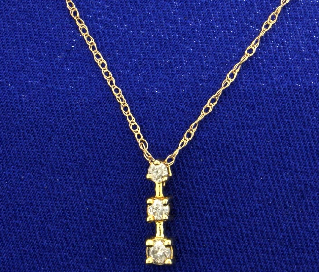 Three Diamond Journey Pendant with Chain in 10K Yellow
