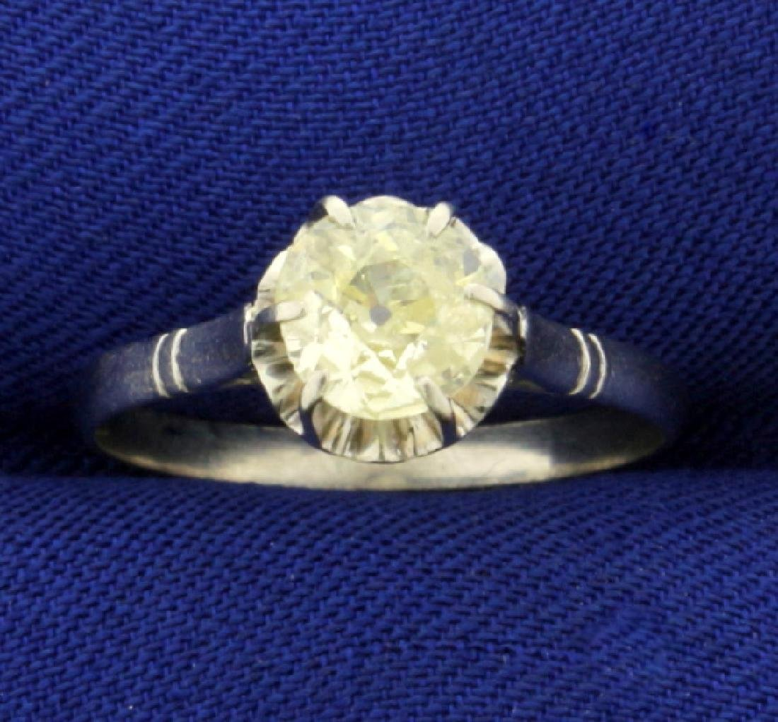 Antique Fancy Yellow .9ct Solitaire Old European Cut