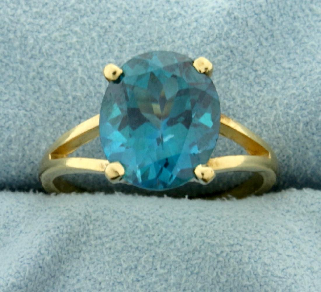 5ct Blue Spinel Ring in 10K Yellow Gold