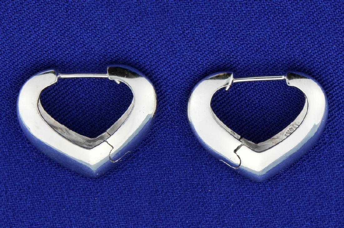 Italian Made White Gold Heart Hoop Earrings