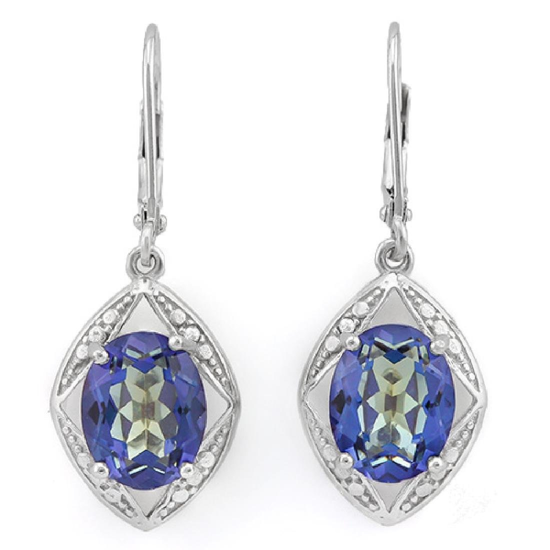 Blue Violet Mystic Topaz Dangle Earrings in Sterling