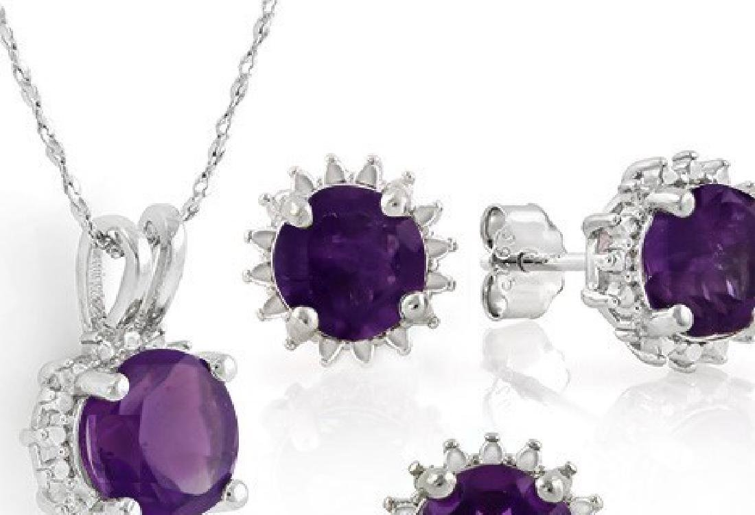 Starburst Amethyst Earrings and Pendant SET in Sterling