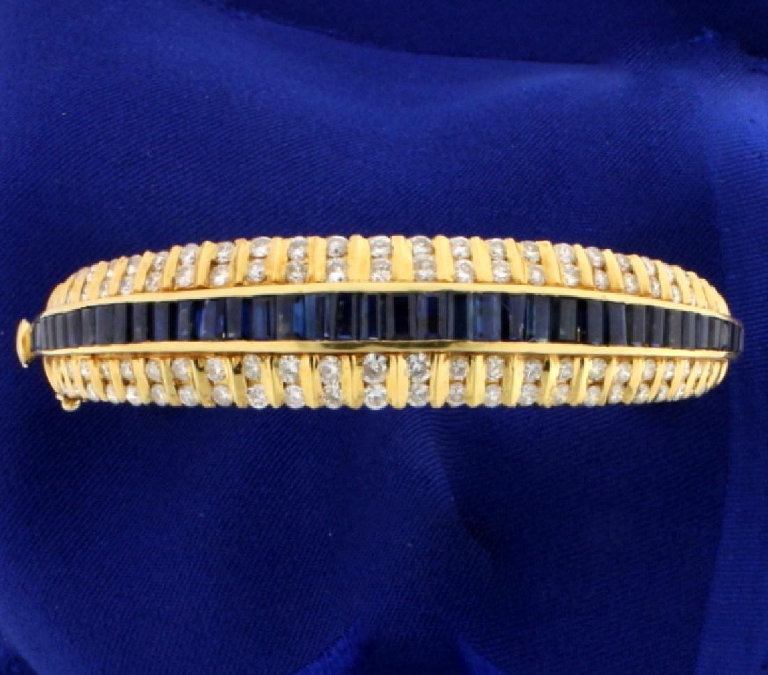 18k Natural Sapphire and Diamond Bangle Bracelet - 2