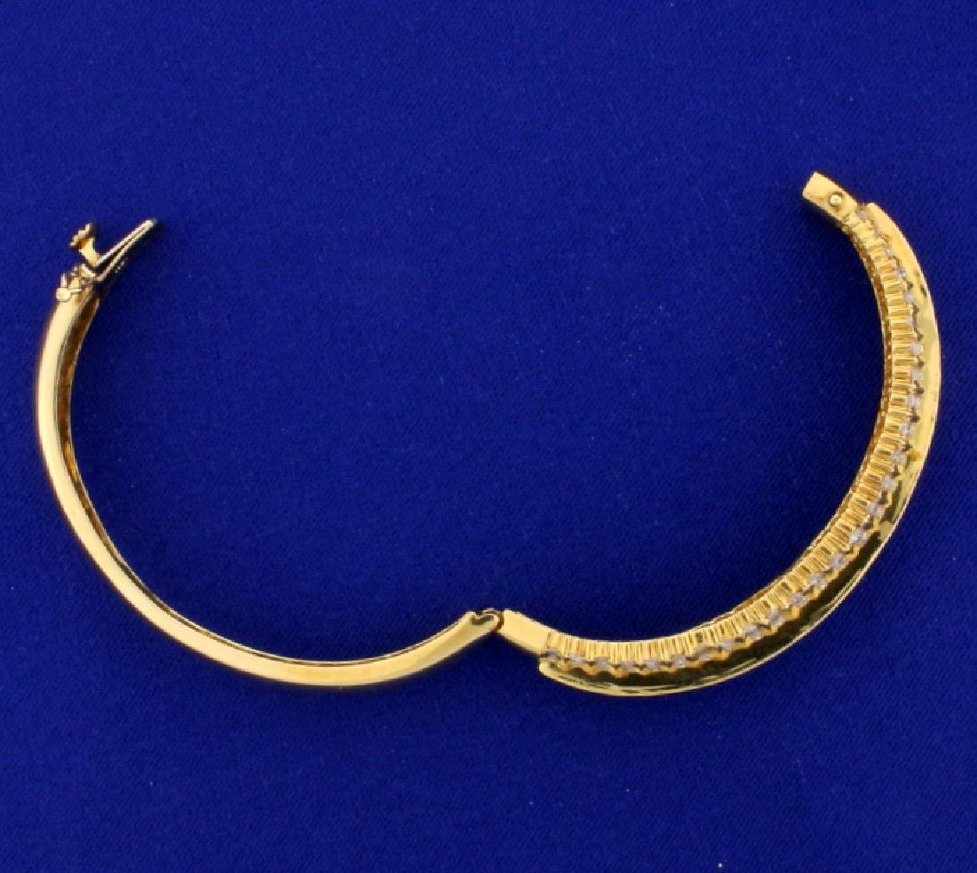 18k Natural Sapphire and Diamond Bangle Bracelet - 3