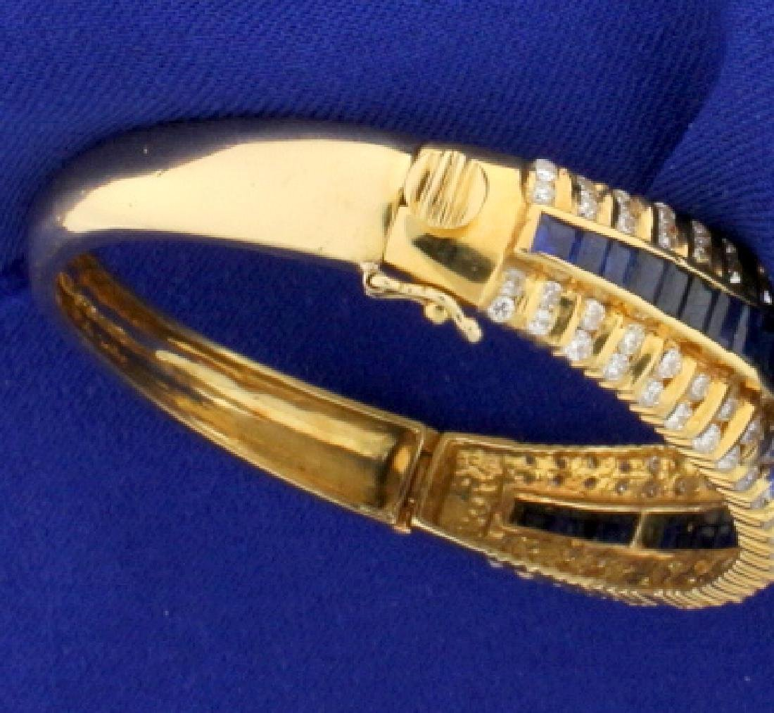 18k Natural Sapphire and Diamond Bangle Bracelet - 4