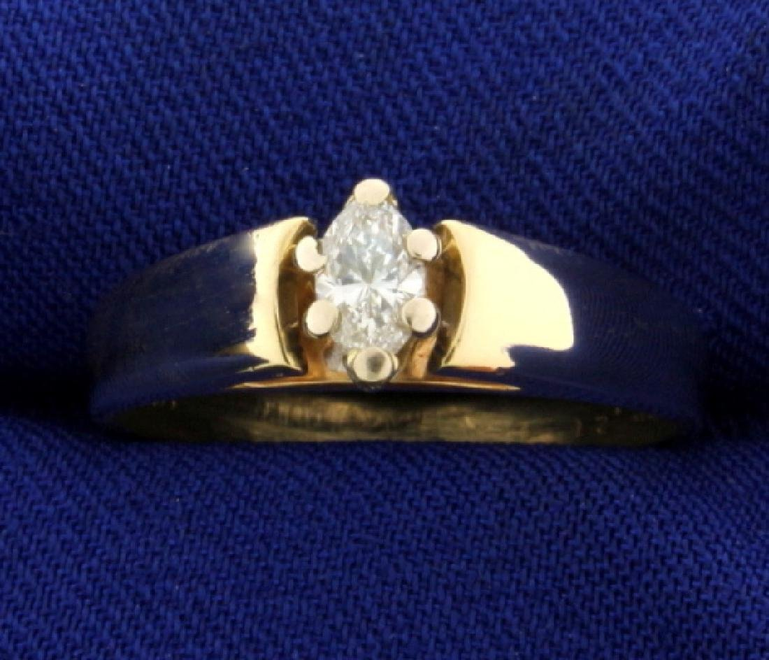 1/3ct Marquise Solitaire Diamond Engagement Ring
