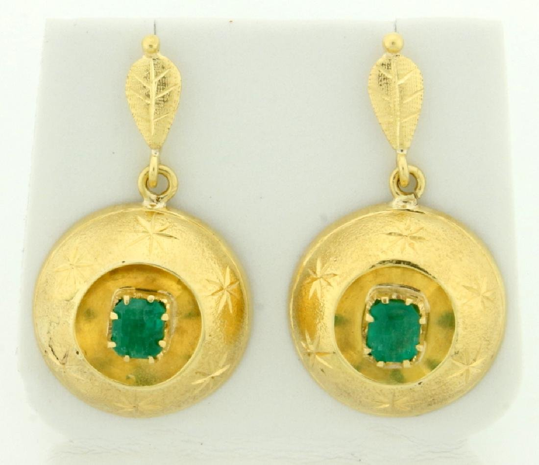1ct TW Drop Dangle Emerald Earrings in 14k Gold