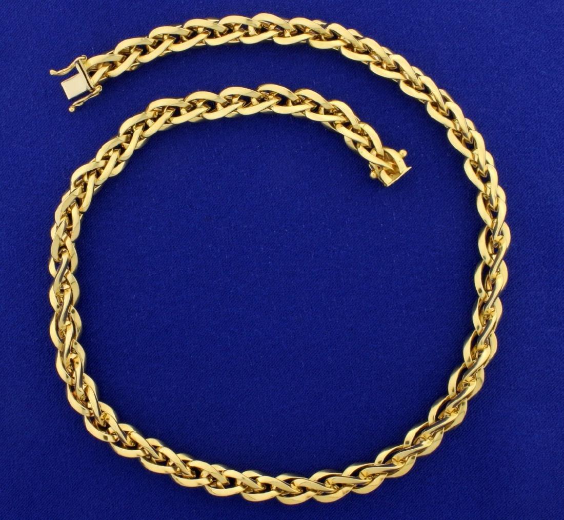 Italian Made Twisting Designer Link Necklace in 18K