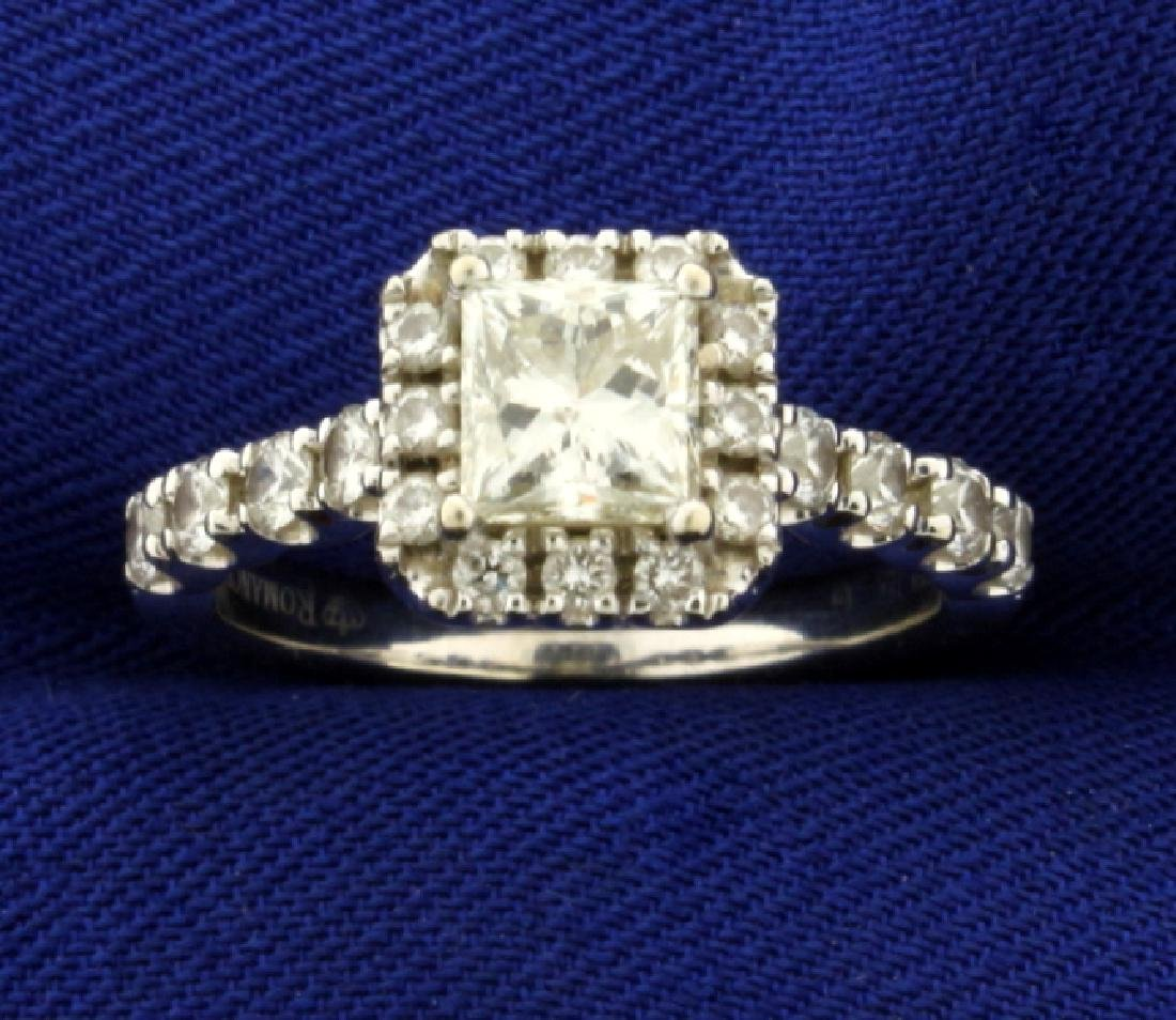 Over 1ct TW Princess Cut Diamond Engagement Ring in 18K