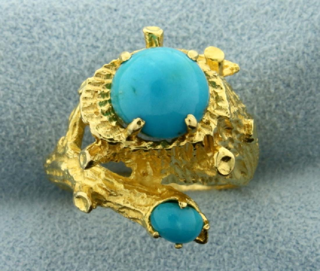 Persian Turquoise Nature Tree Design Ring in 18K Yellow
