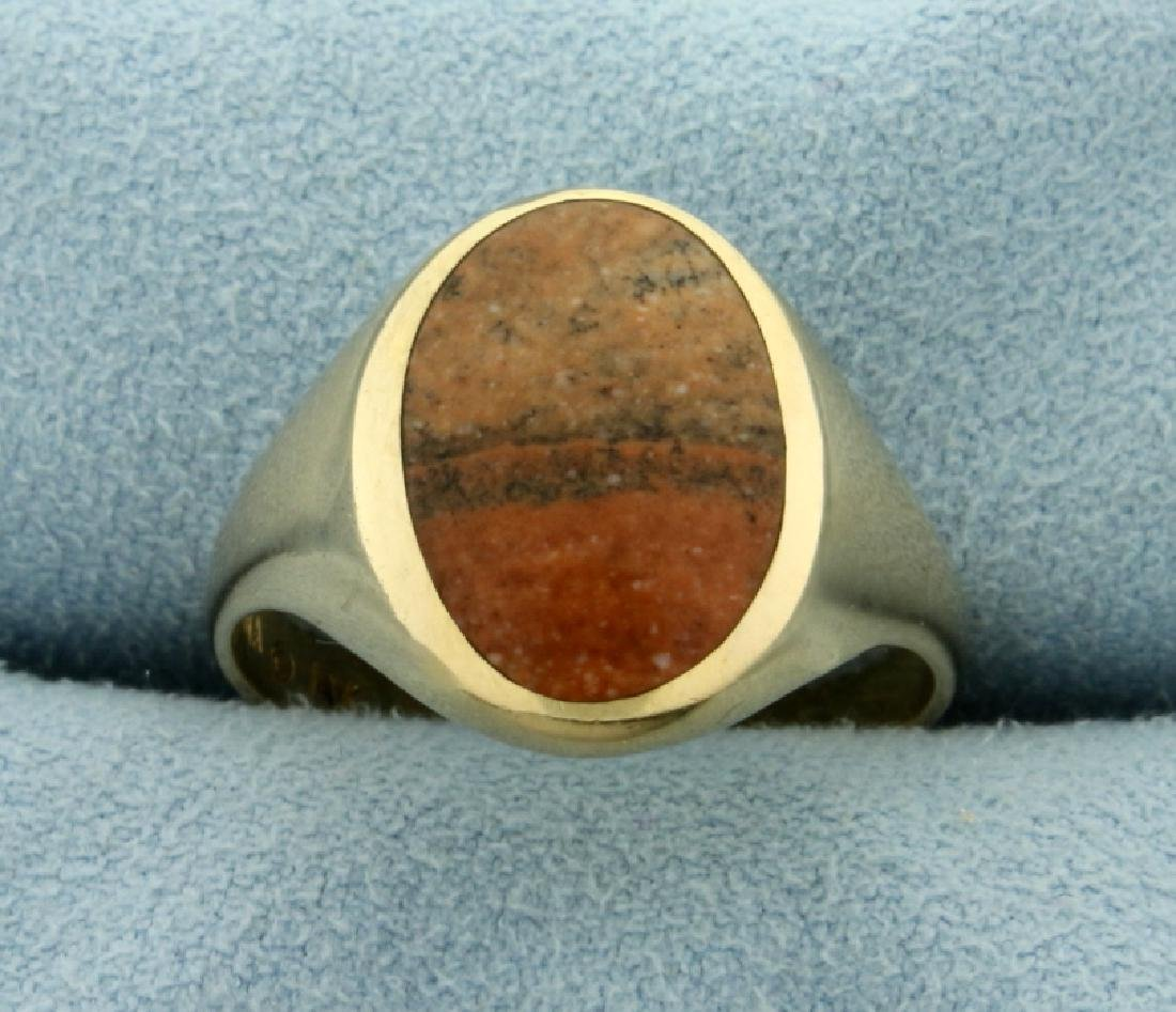 Agate Gemstone Ring in 14K Yellow Gold