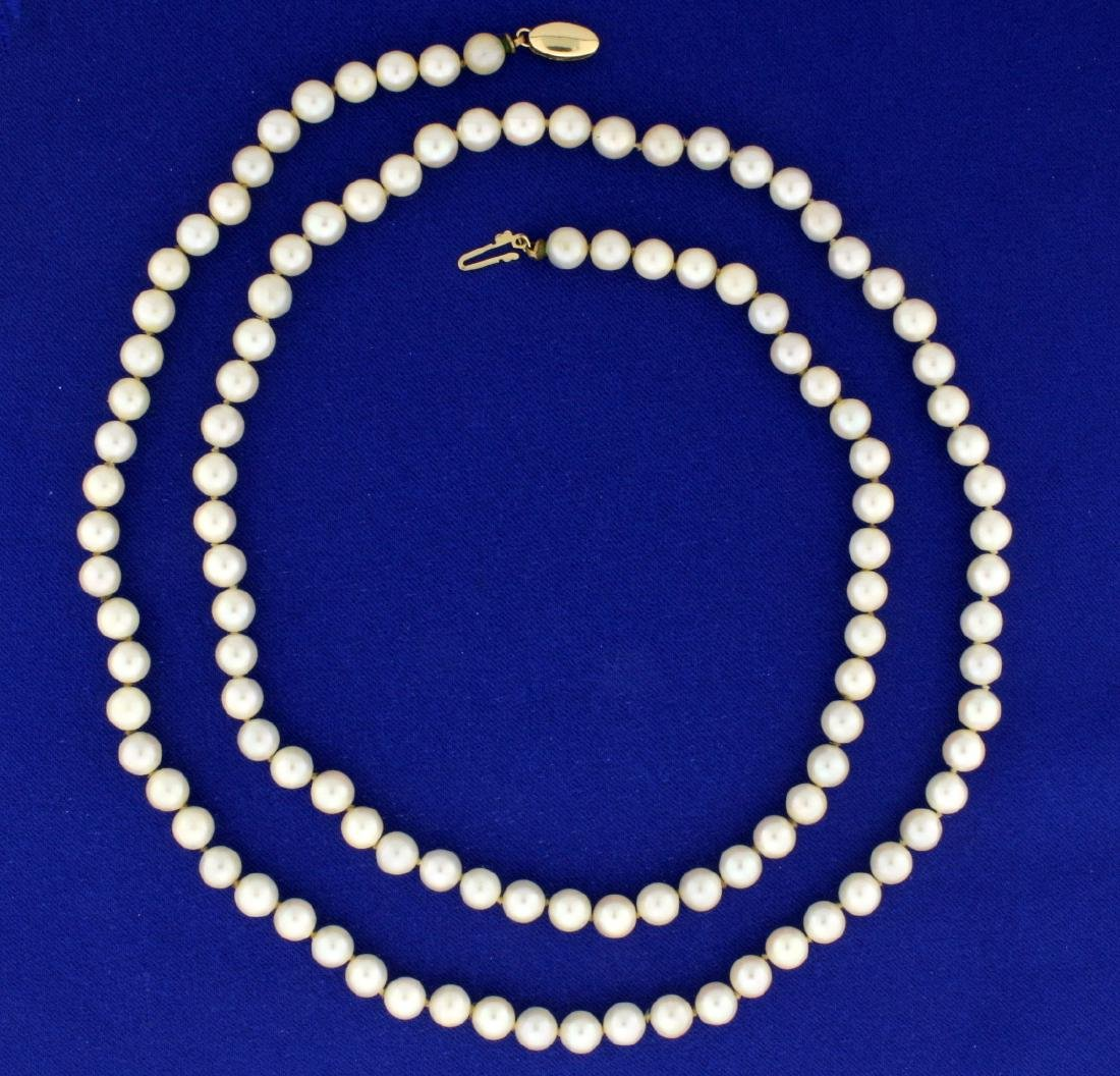31 Inch 112 Akoya Pearl Necklace in 14K Yellow Gold