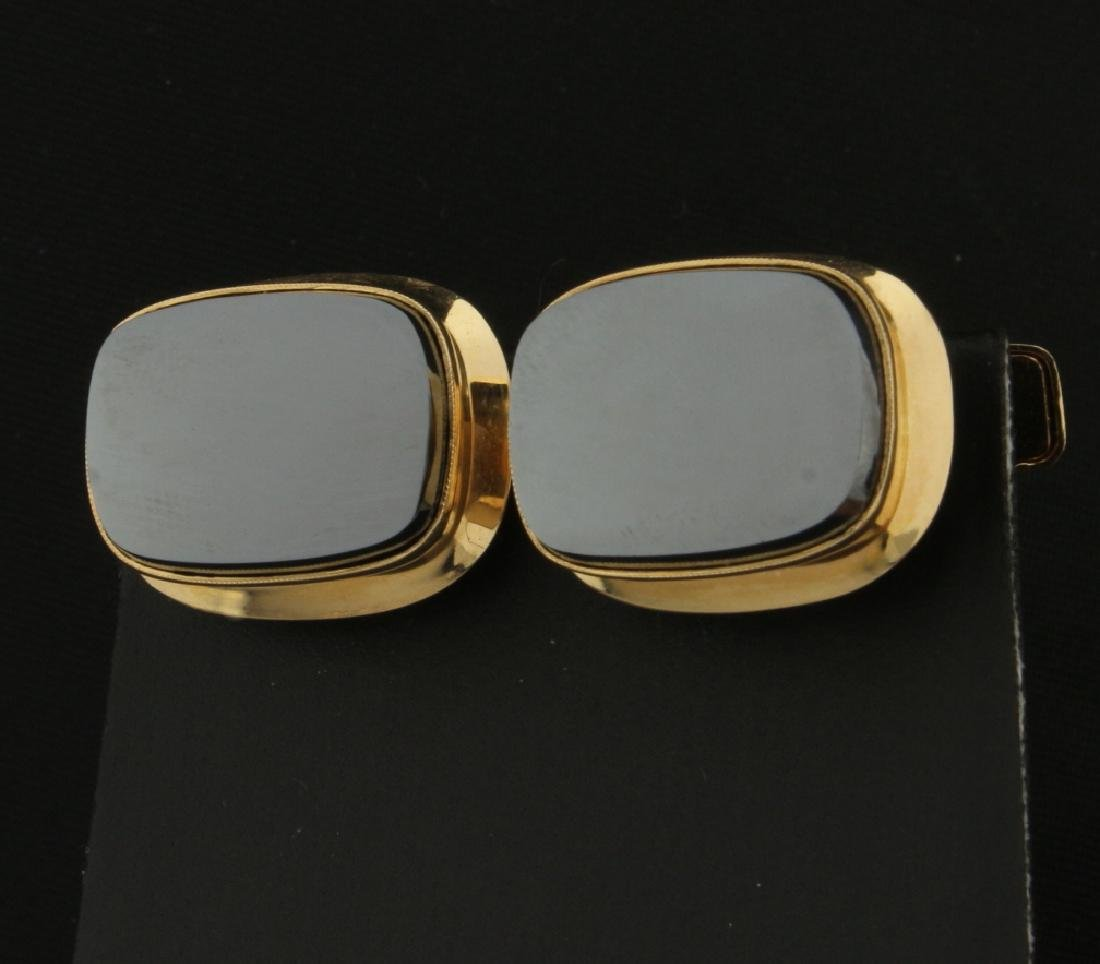 Hematite Cuff Links in 14K Yellow Gold
