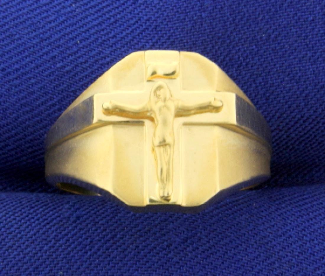 Crucifix Ring in 10K Yellow Gold