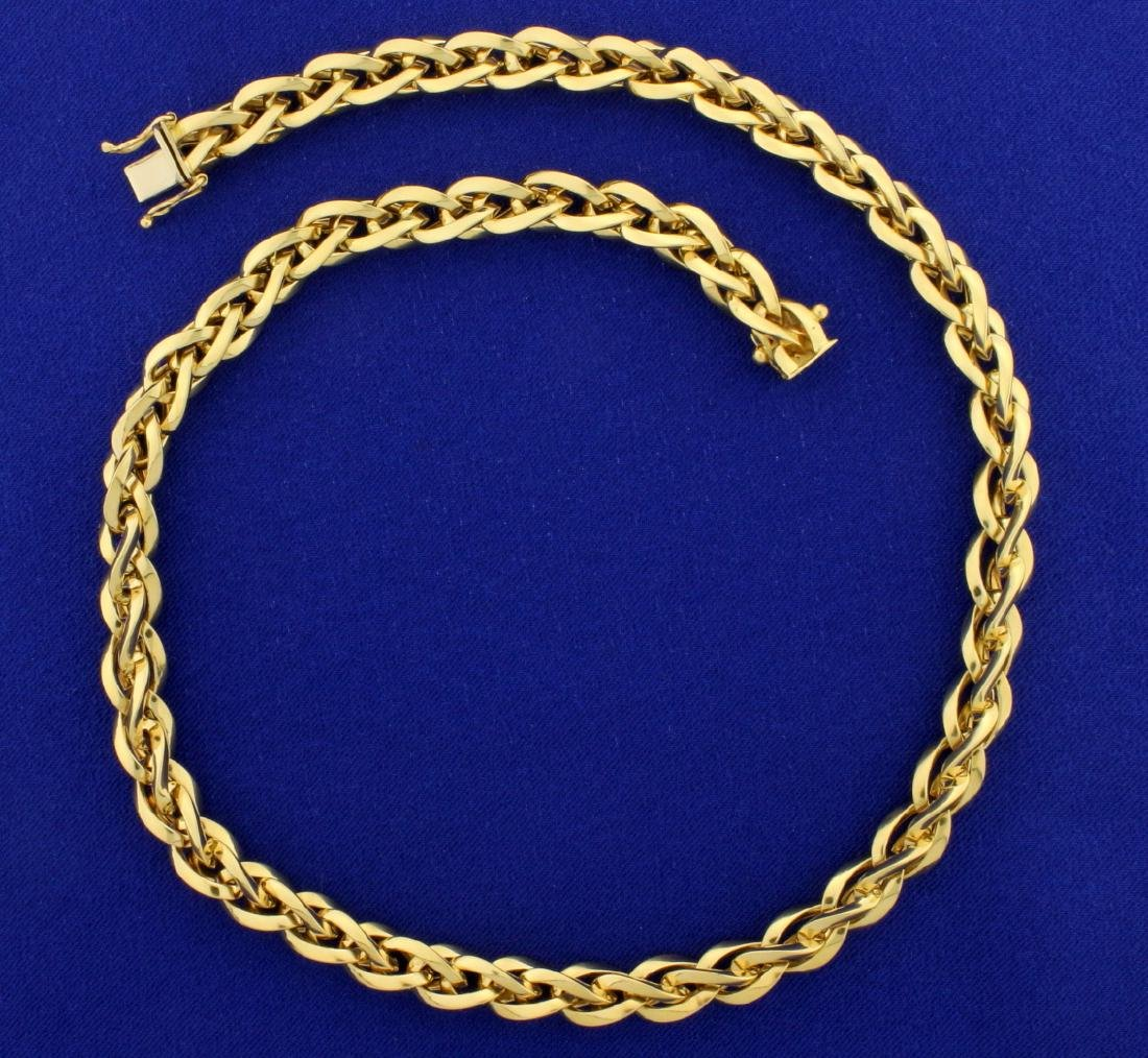 Italian Made Twisting Designer Link Necklace in 18K