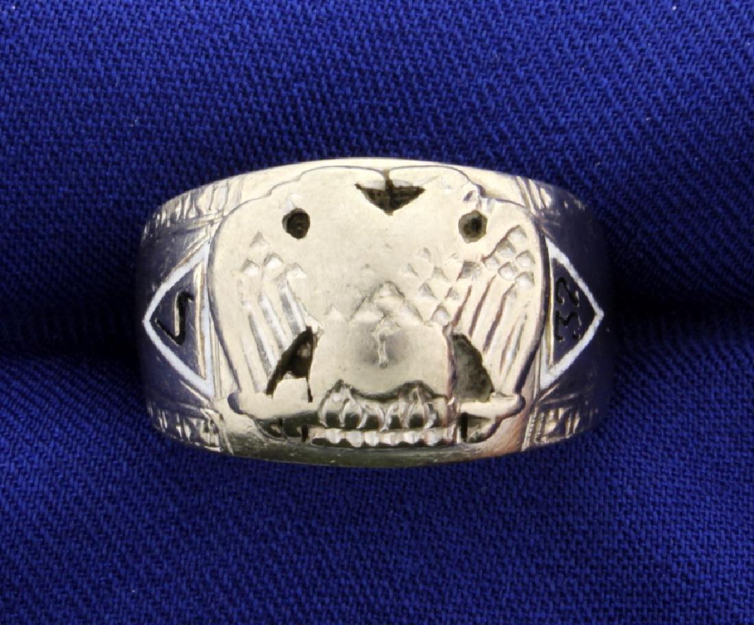 Vintage 32 Degree Masonic Ring in 10k White Gold