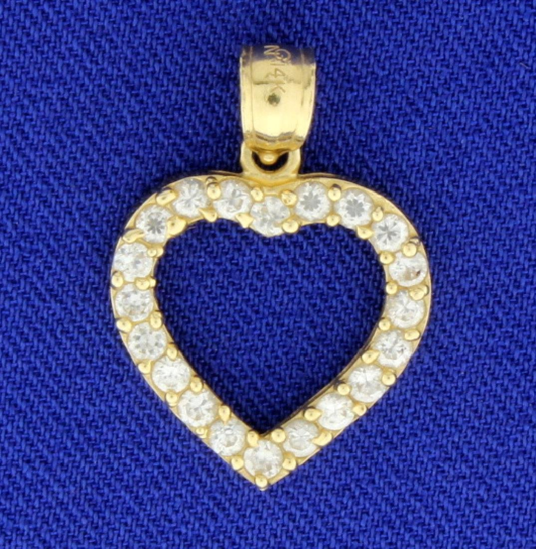 1/2ct TW CZ Heart Pendant in 14k Gold