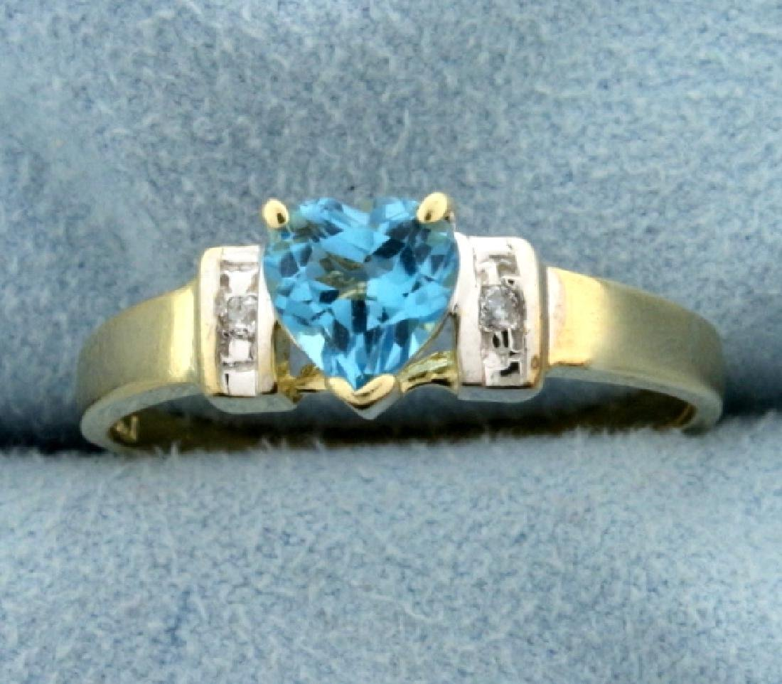Heart Shaped Swiss Blue Topaz and Diamond Ring in 14K
