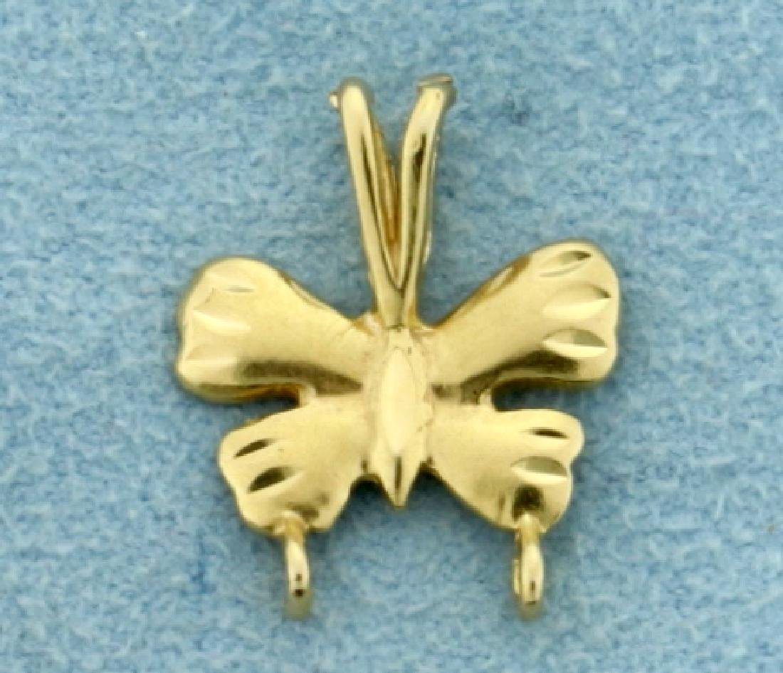 Butterfly Design Charm Holding Pendant in 14K Yellow
