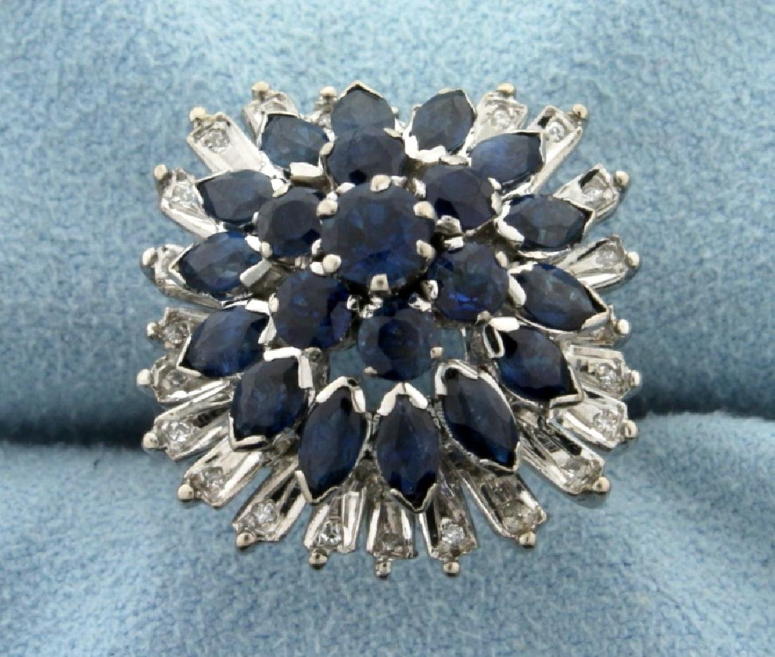 Vintage 3ct Natural Sapphire and Diamond Ring in 18K