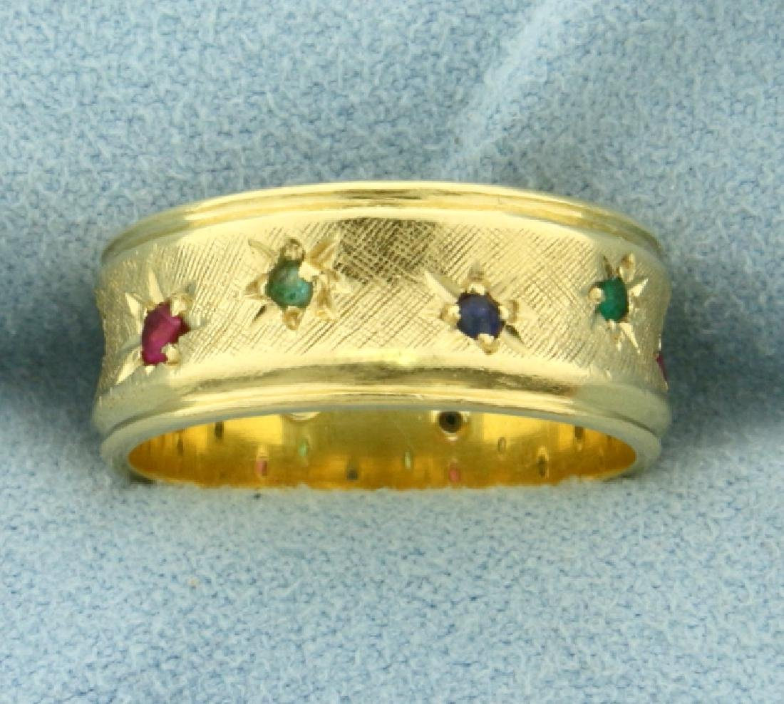 Diamond, Ruby, Sapphire, and Emerald Band Ring in 18K