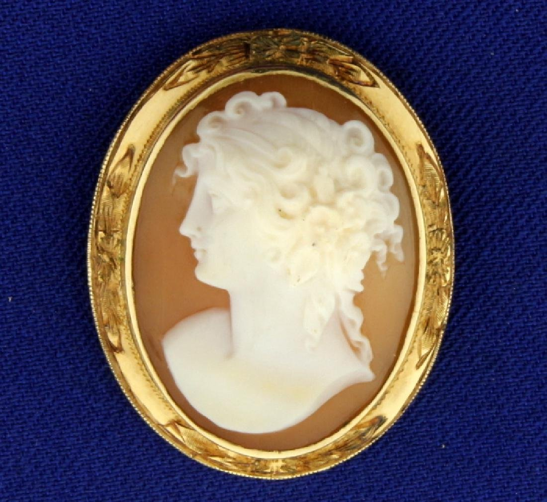 Cameo Pin or Pendant in Yellow Gold