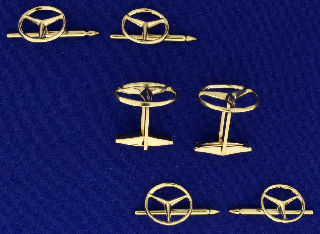 6-Piece Mercedes Symbol Cuff Link and Tuxedo Stud Set