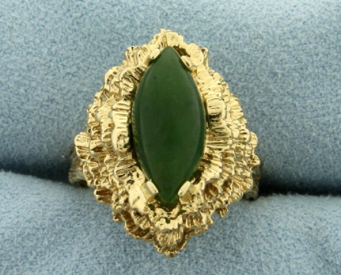 3ct Natural Jade Ring in 14K Yellow Gold