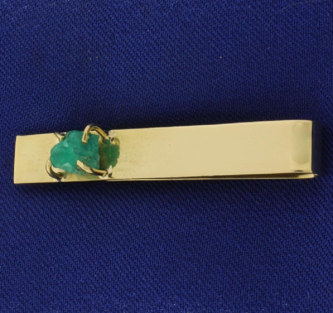 Natural Emerald Tie Clip in 18k Gold