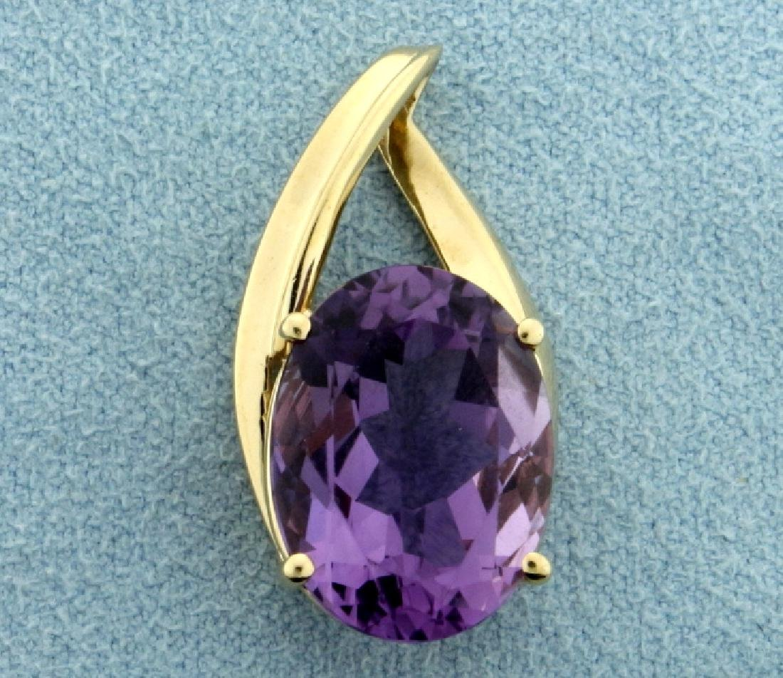 Over 10ct Amethyst Pendant in 10K Yellow Gold
