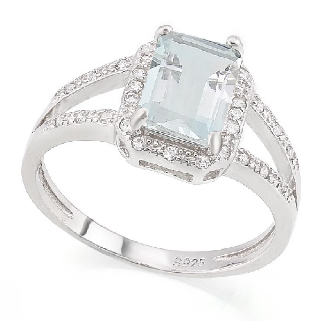 Emerald Cut Aquamarine Ring with White Sapphires in