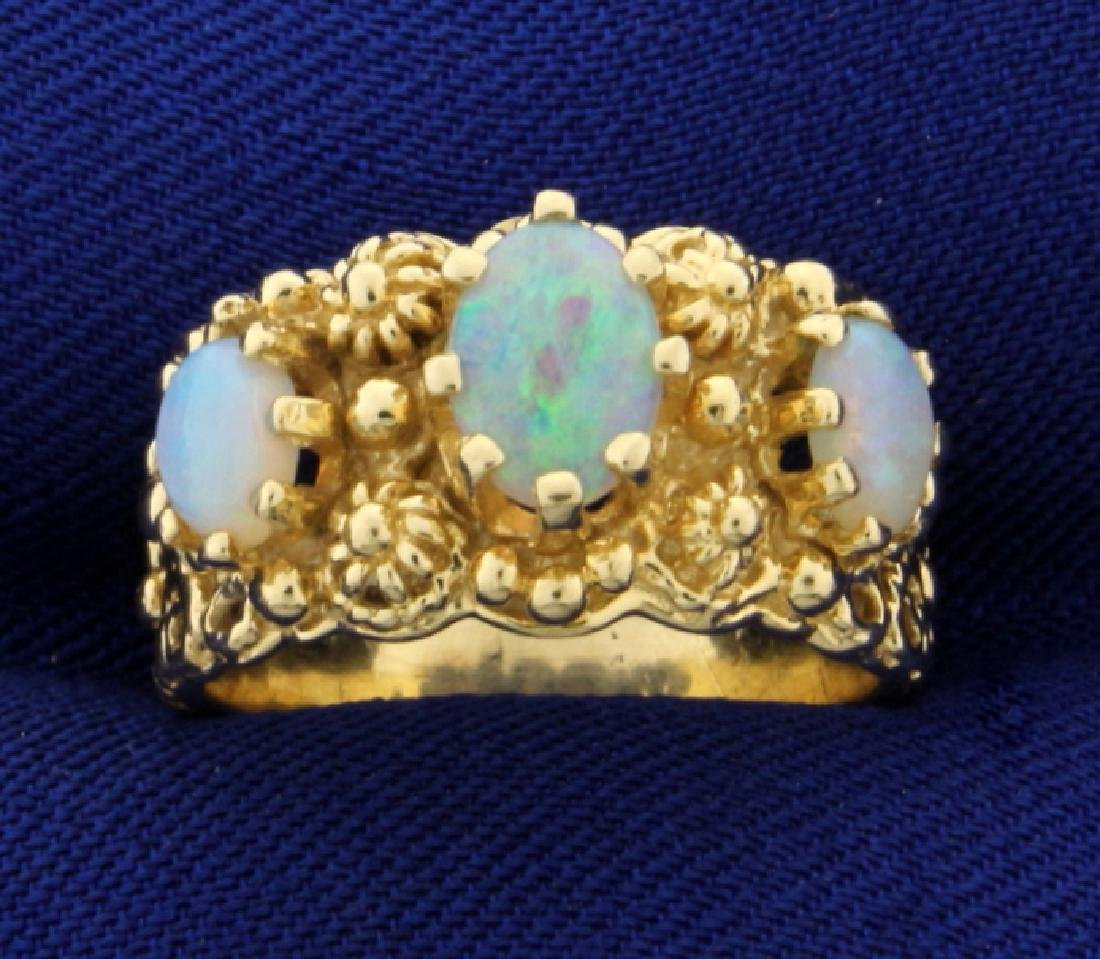 Three Stone Opal Ring in 14K Yellow Gold