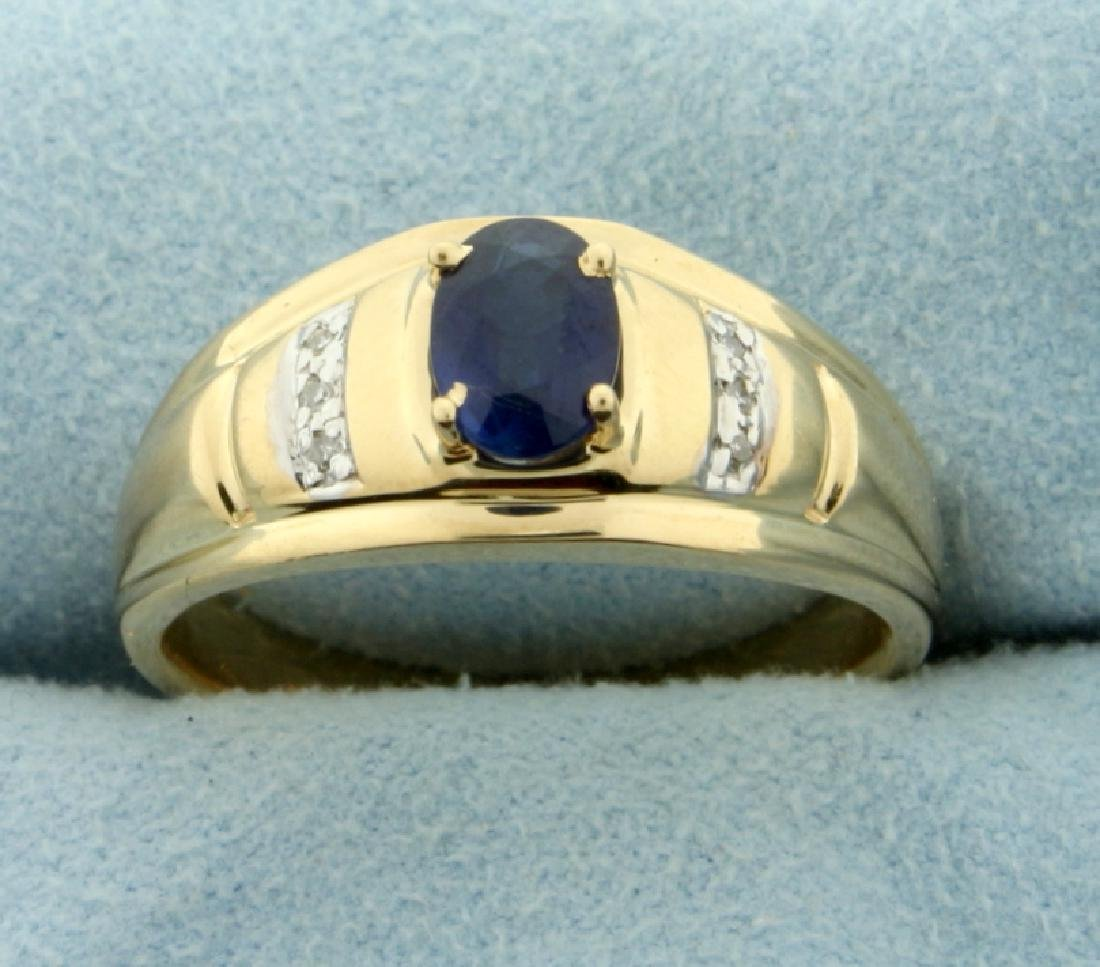 1ct Sapphire and Diamond Ring in 14K Yellow and White