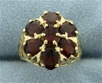 3 1/2ct TW Garnet Flower Ring in 14K Yellow Gold