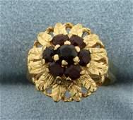 Garnet Child's Flower Ring in 18K Yellow Gold