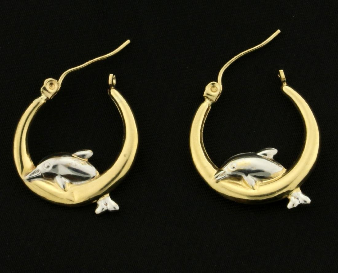 Dolphin Hoop Earrings in 10K Yellow and White Gold