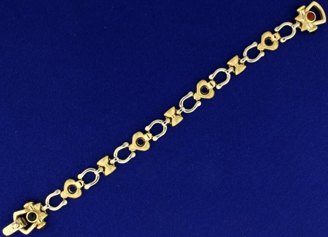 Italian Made Horseshoe and Heart Link Bracelet in 14K