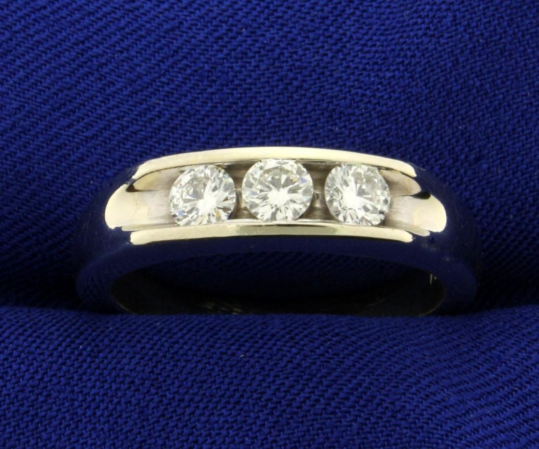 Men's 3/4ct TW Diamond Three-Stone Ring in 14K White